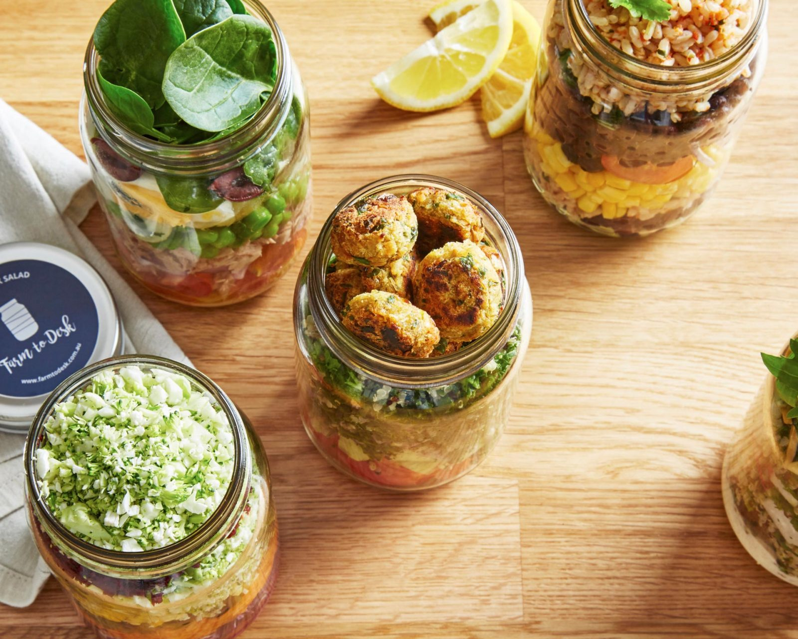 salad in jars food photography