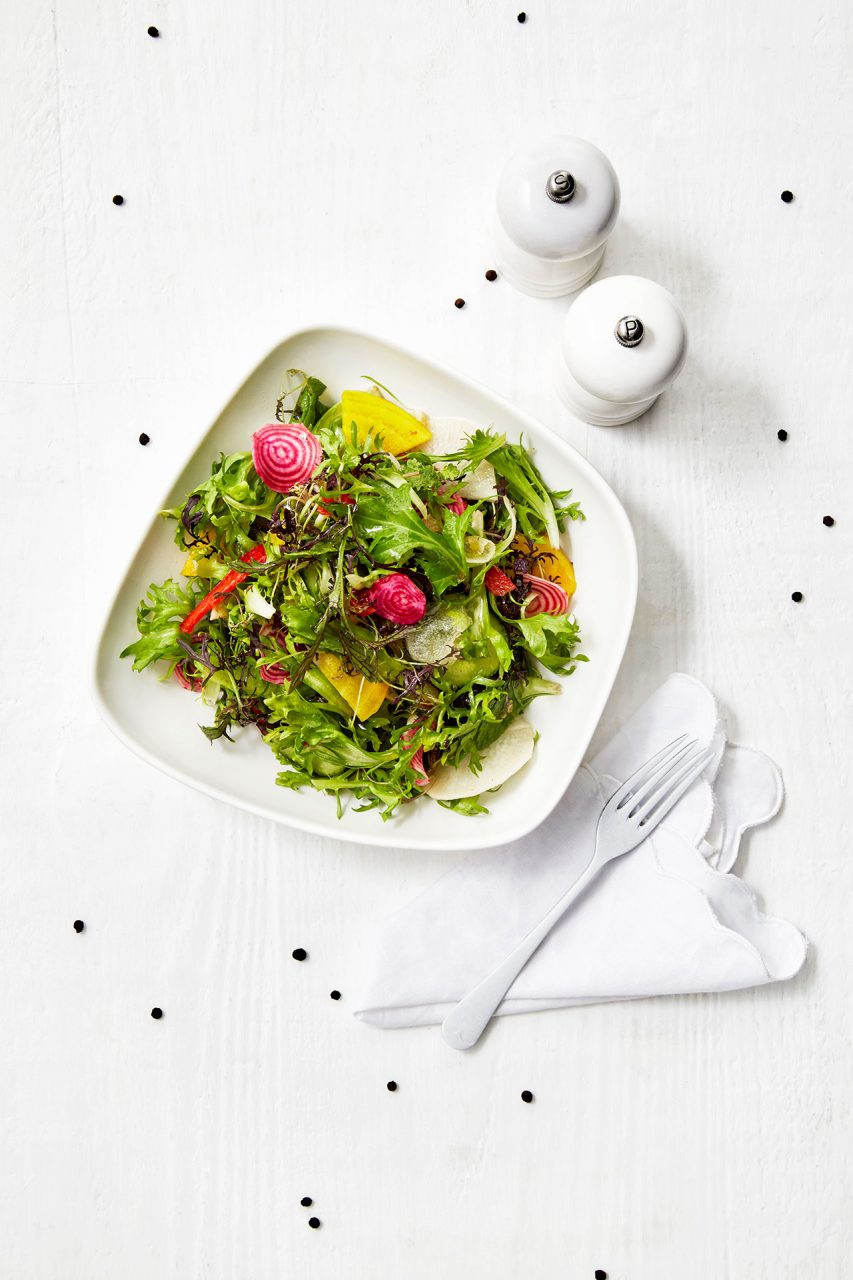 salad on white food photography
