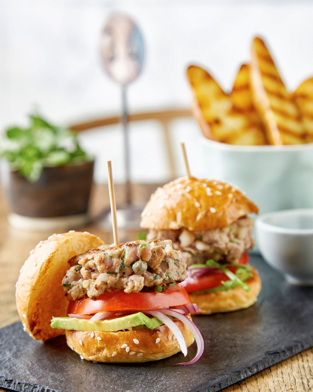 veal burgers food photography
