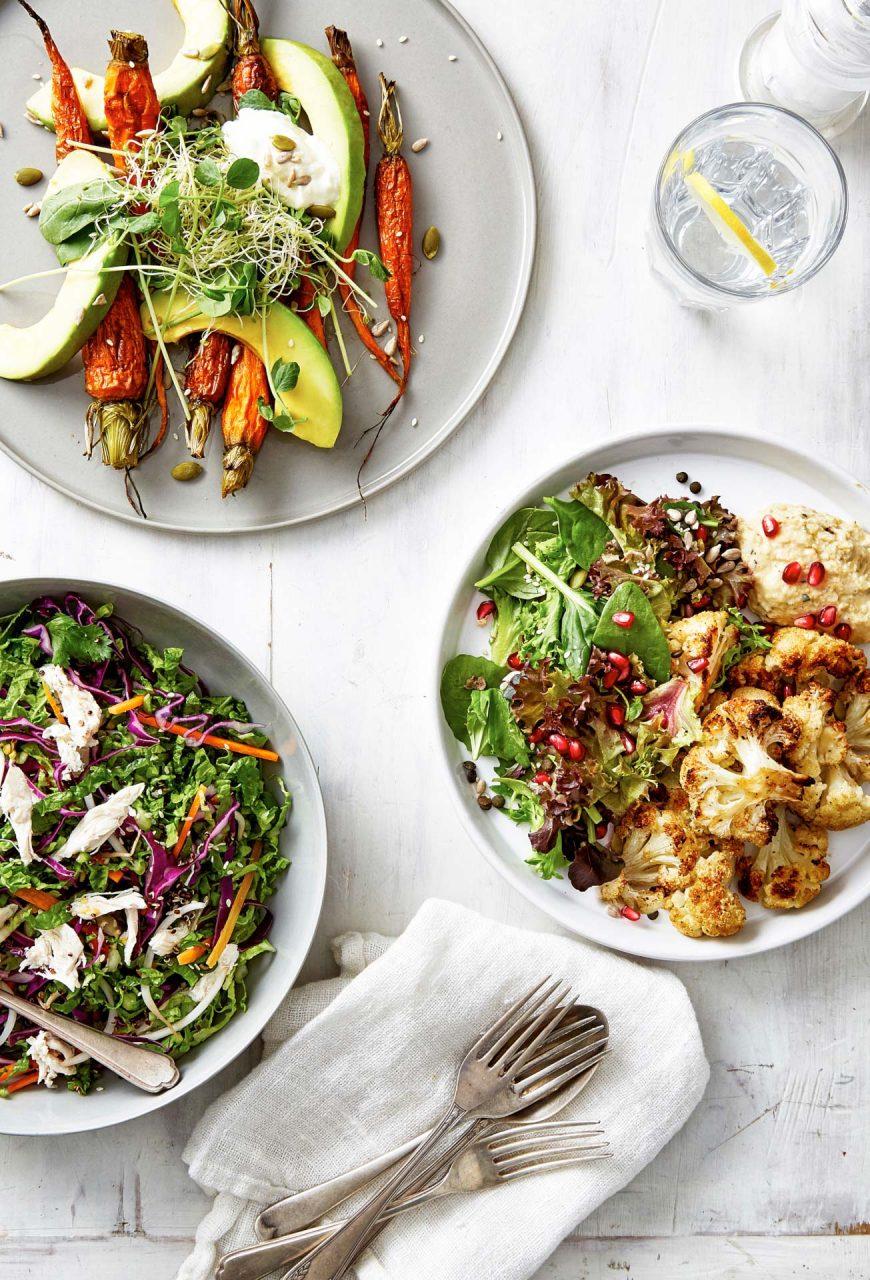 3 salads food photography