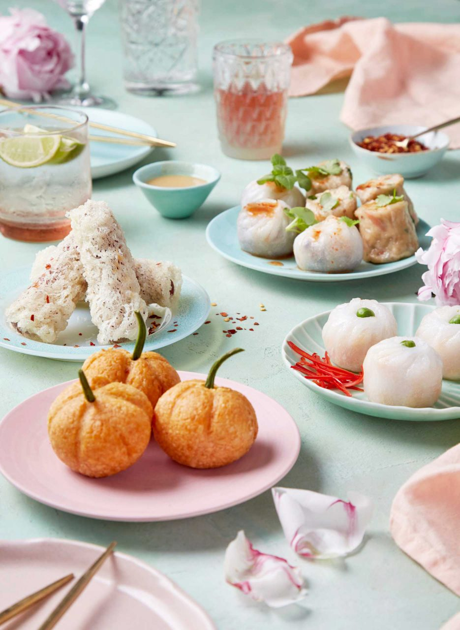 yum cha table spread food photography
