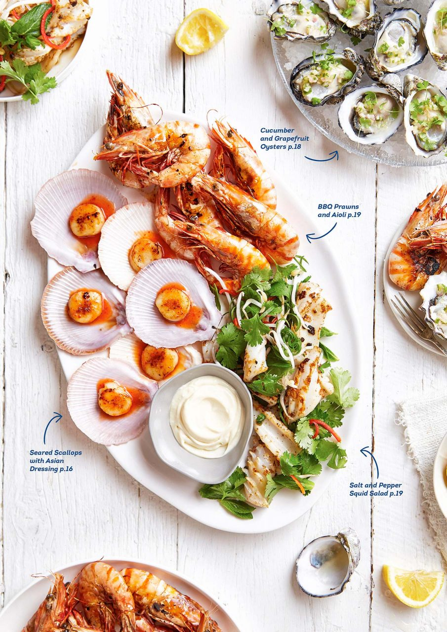 seafood spread food photography