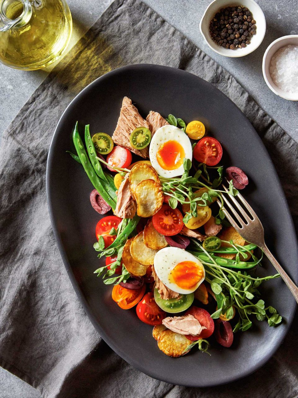 tuna nicoise salad food photography