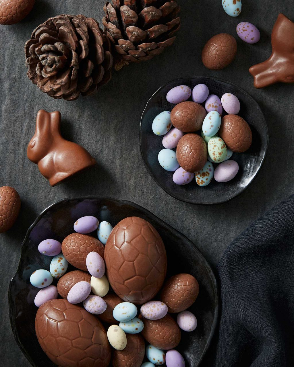 chocolate easter eggs in black bowls food photography sydney