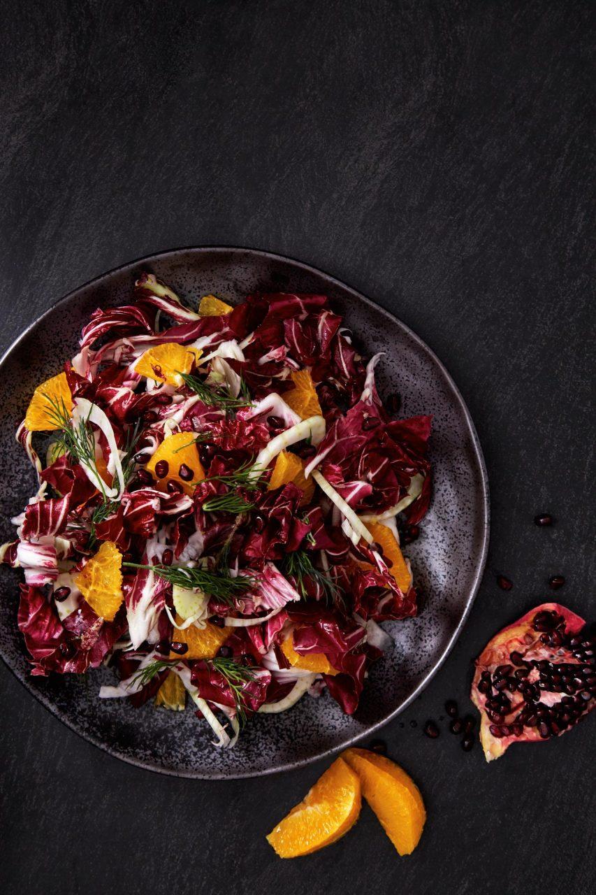orange salad food photography